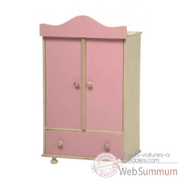 armoire en bois v tements poup e rose 0760r de new. Black Bedroom Furniture Sets. Home Design Ideas