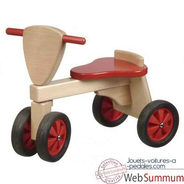 Video Porteur Tricycle couleur rouge et naturel -1390