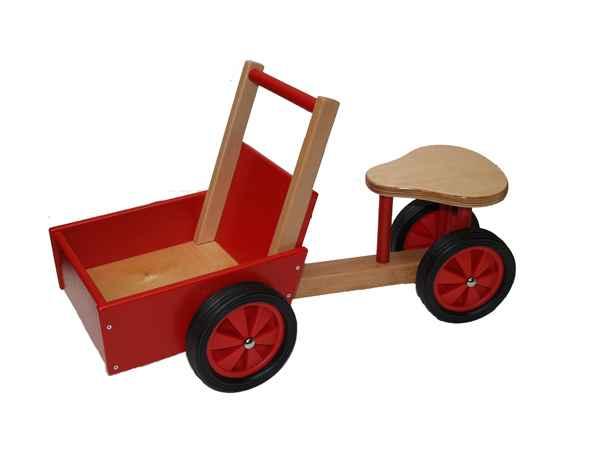 triporteur rouge et naturel en bois 1405 de new classic toys dans porteur enfant. Black Bedroom Furniture Sets. Home Design Ideas