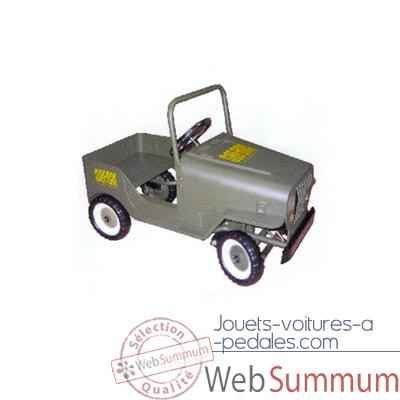Video Voiture a pedales Jeep gris vert - 9601